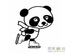 滑冰的大熊猫简笔画图片