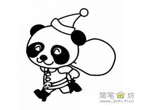 变成圣诞老人的大熊猫简笔画