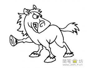 生气的骏马简笔画图片