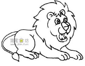趴着的狮子简笔画图片