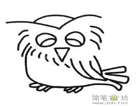 微笑的猫头鹰简笔画图片