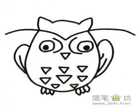 儿童简笔画《猫头鹰》图片3幅