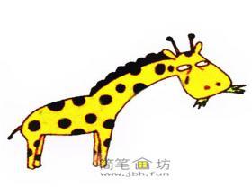 正在吃草的长颈鹿彩色简笔画教程