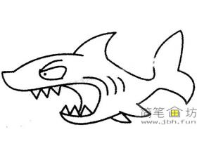 儿童简笔画鲨鱼的画法图片大全