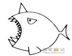 凶恶的怪兽鱼简笔画图片教程