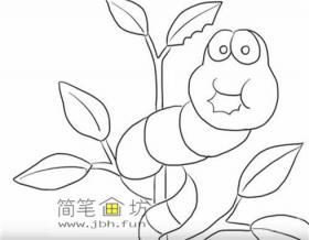 树叶上玩耍的毛毛虫简笔画画法步骤