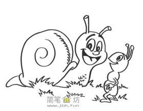 蜗牛和蚂蚁的画法