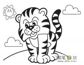 2幅玩耍的小老虎简笔画