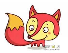 儿童画教程_卡通小狐狸彩色简笔画教程