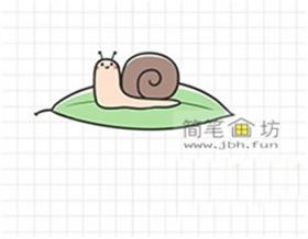 树叶和小蜗牛彩色简笔画教程