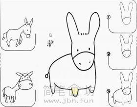 幼儿学画画_小毛驴的简笔画画法图解