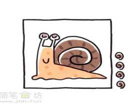 简单的彩色蜗牛简笔画分解步骤