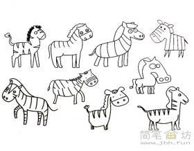 卡通小斑马简笔画教程