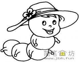 戴着太阳帽的卡通毛毛虫简笔画