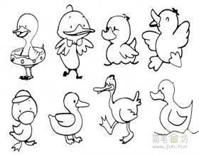 儿童简笔画鸭子的画法