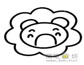 简笔画初级:卡通狮子头像简笔画