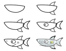 幼儿简笔画教程:鲨鱼的画法