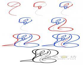 邪恶的眼镜蛇简笔画画法步骤