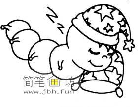 睡觉的卡通毛毛虫简笔画