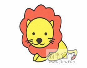 可爱的卡通小狮子的简笔画法