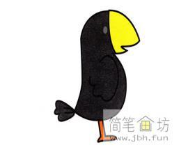 黑色小乌鸦的简笔画教程