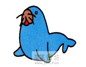 蓝色小海豹的简笔画图片