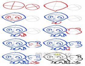 两只小狮子简笔画画法步骤教程