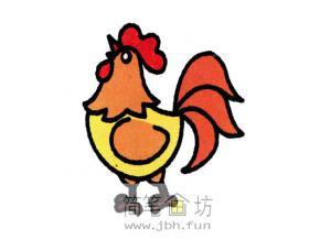 图解公鸡的彩色简笔画教程