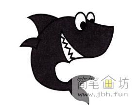 凶恶的鲨鱼的简笔画图解