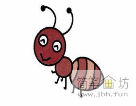 勤劳的蚂蚁的简笔画步骤