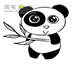 拿着竹子的国宝大熊猫的简笔画大全
