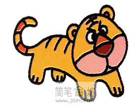 怎么画一只卡通小老虎的简笔画