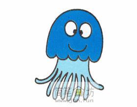 简单的水母的简笔画教程【彩色】