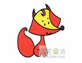 机灵的小狐狸的简笔画教程【彩色】