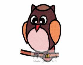 儿童简笔画:彩色猫头鹰的简笔画教程