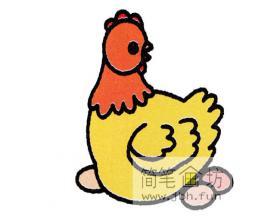 图解下蛋母鸡的绘画步骤