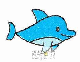 悠闲的海豚的简笔画教程