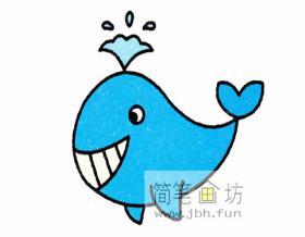 露着牙齿的小鲸鱼的简笔画图片