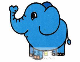 卷着鼻子的大象的简笔画教程