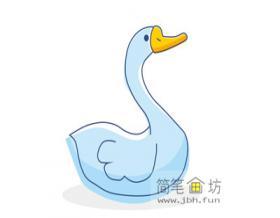简笔画鹅的画法步骤教程【彩色】
