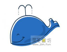 儿童学画画:简笔画鲸鱼的画法【彩色】