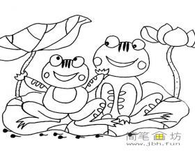 荷叶上的两只小青蛙简笔画图片