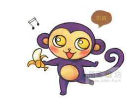爱吃香蕉的小猴子简笔画教程【彩色】