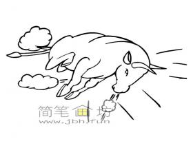 冲刺的斗牛简笔画