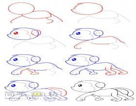 一步一步教你画猴子简笔画