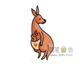 袋鼠的简笔画画法详解【彩色】