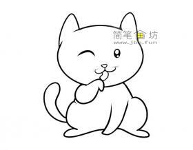 卡通小猫咪的简笔画图片2幅