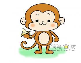 吃香蕉的小猴子的简笔画画法图片