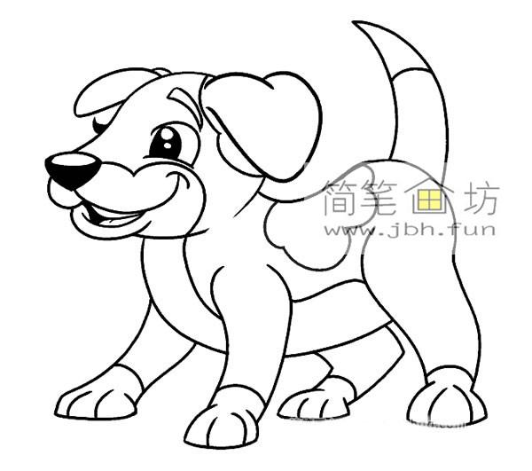 卡通小花狗的简笔画图片