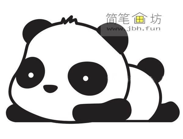 趴着的大熊猫的简笔画教程
